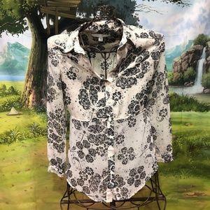 LAUREN CONRAD Ivory/Black Long Sleeve Shirt XS